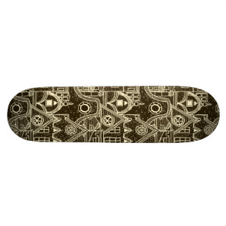 Old City sketchy pattern on dark background Skate Board Deck