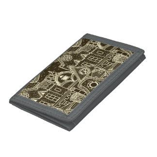 Old City sketchy pattern on dark background Tri-fold Wallets