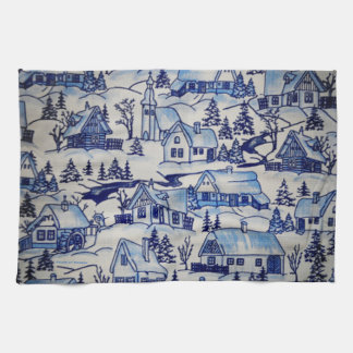 Old Classic Blue-White Winter Christmas Xmas Kitchen Towel