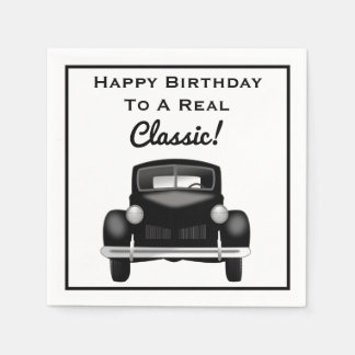 Old Classic Car Over the Hill Happy Birthday Disposable Napkin
