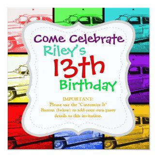"Old Classic Car Watercolor Pop Art Print 5.25"" Square Invitation Card"