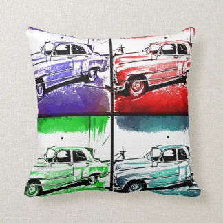 Old Classic Car Watercolor Pop Art Print Throw Pillow