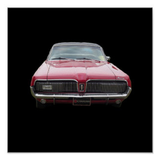 Old classic mercury cougar red front end poster