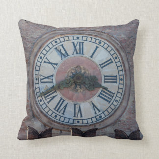 Old clock throw cushion