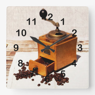 old coffee mill with coffee beans wallclock