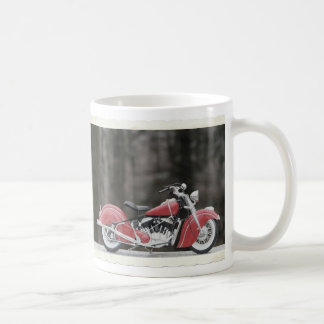 Old color motorcycle photo basic white mug