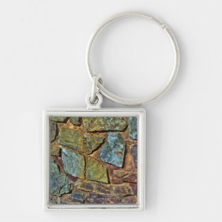 Old colorful stone wall texture keychain