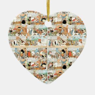 Old comic strip ceramic heart ornament