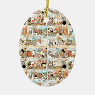 Old comic strip ceramic oval ornament