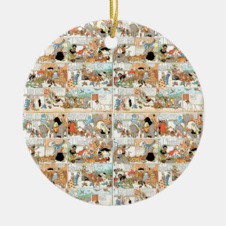 Old comic strip round ceramic ornament