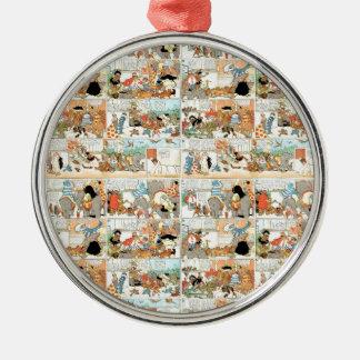 Old comic strip Silver-Colored round ornament