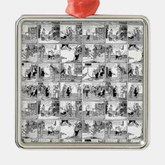 Old comic strip Silver-Colored square ornament