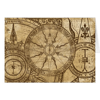 Old Compass Rose Card