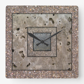 Old Concrete Square panel Wall Clock