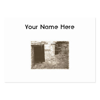 Old cottage in the woods. Sepia and white. Large Business Card