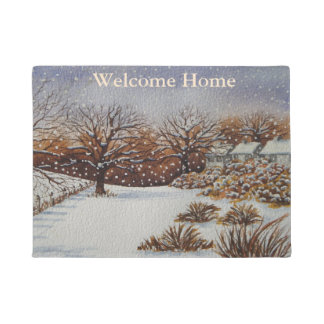 old cottages rustic landscape snow scene winter doormat