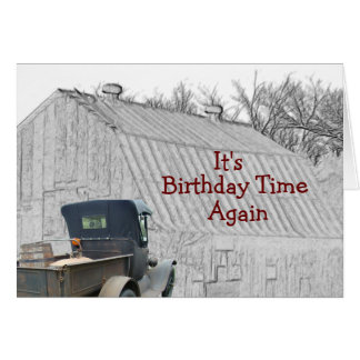 Old Country Barn & Vintage Pickup- -customize it Card