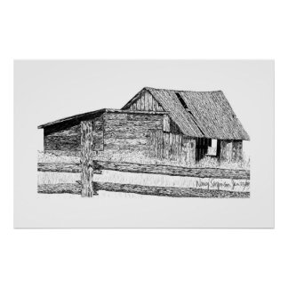 Old Country Barnboard Woodshed Pen and Ink Drawing Print
