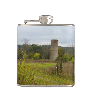 Old Country Silo Landscape Hip Flask