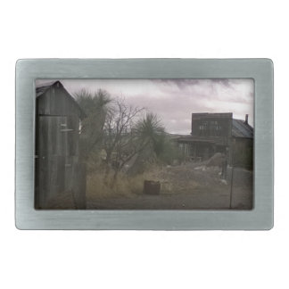 Old Country Western Ghost Town Rectangular Belt Buckle