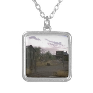Old Country Western Ghost Town Silver Plated Necklace