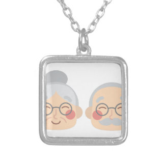 Old Couple Silver Plated Necklace
