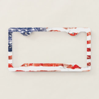 Old Creased American Flag Licence Plate Frame