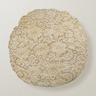 Old Crochet Lace Floral Pattern + your ideas Round Pillow