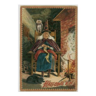 Old Crone Witch Vintage Poster