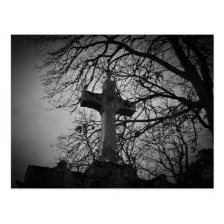 Old cross tombstone photo postcard