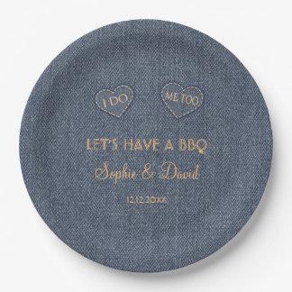 Old Denim Blue Western I DO BBQ Paper Plate