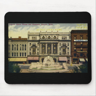 Old Detroit Opera House and Fountain, Detroit, MI Mouse Pad