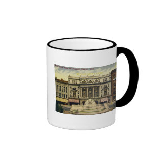 Old Detroit Opera House and Fountain, Detroit, MI Ringer Coffee Mug