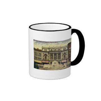 Old Detroit Opera House and Fountain, Detroit, MI Ringer Mug