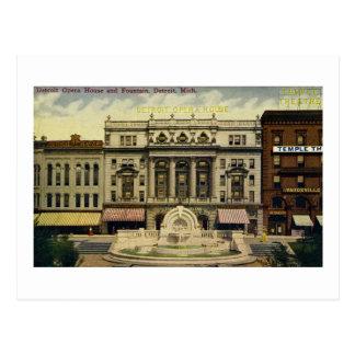 Old Detroit Opera House and Fountain, Detroit, MI Postcard