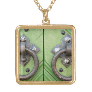 Old door gold plated necklace