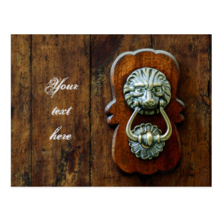 Old door knock personalized postcard