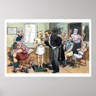 Old Dr. Roosevelt 1907 vintage political cartoon Poster