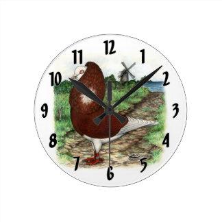 Old Dutch Capuchine Pigeon Round Clock