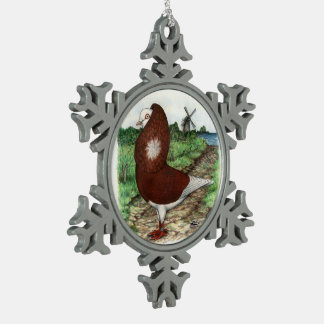 Old Dutch Capuchine Pigeon Snowflake Pewter Christmas Ornament
