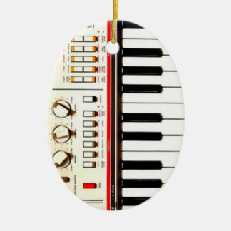 Old Electric Keyboard Ceramic Oval Ornament