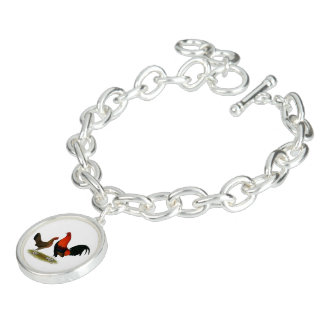 Old English Game Bantams:  BB Red Pair Charm Bracelet