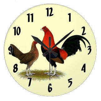 Old English Game Bantams:  BB Red Pair Large Clock