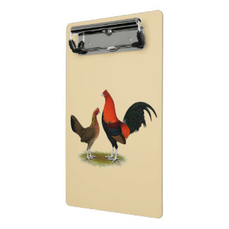 Old English Game Bantams:  BB Red Pair Mini Clipboard