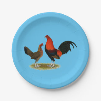 Old English Game Bantams:  BB Red Pair Paper Plate