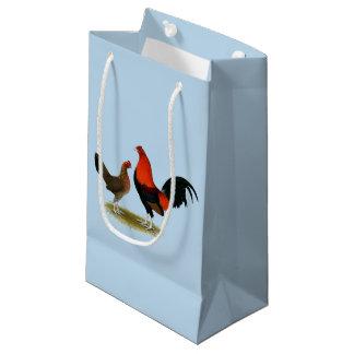 Old English Game Bantams:  BB Red Pair Small Gift Bag