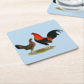 Old English Game Bantams:  BB Red Pair Square Paper Coaster