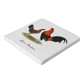 Old English Game Bantams:  BB Red Pair Trivet