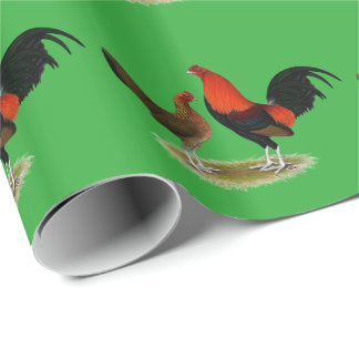 Old English Game Bantams:  BB Red Pair Wrapping Paper