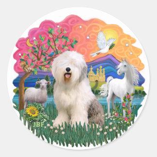 Old English Sheepdog #6 Round Sticker
